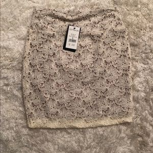 White and brown floral lace pencil skirt
